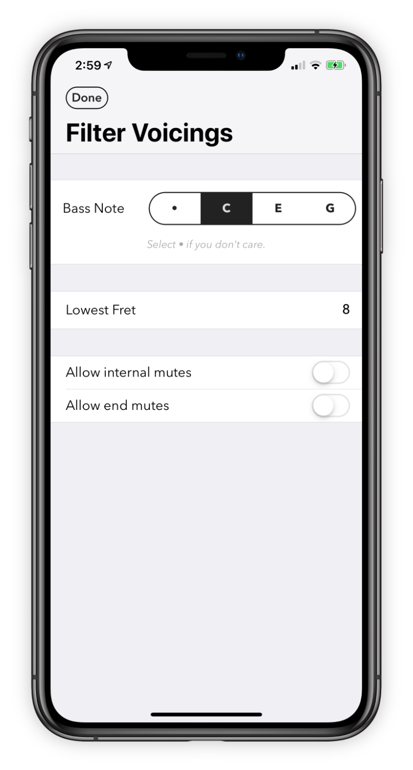 Interface for filtering voicings.