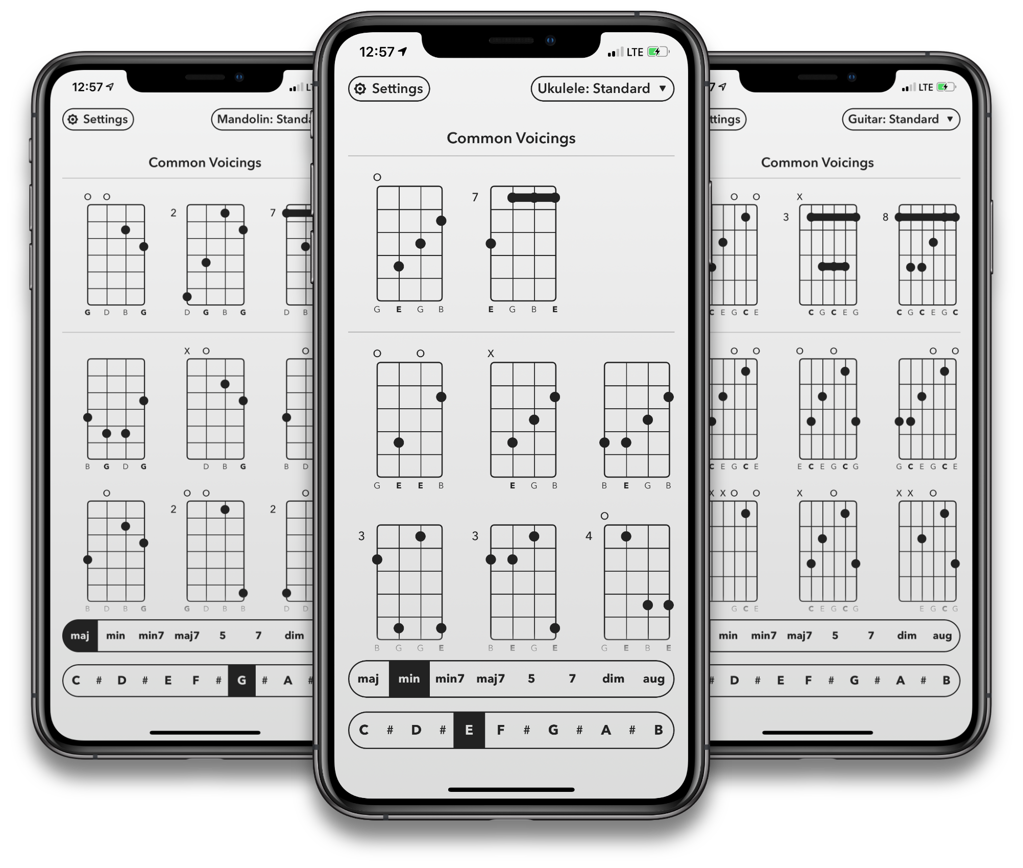 Shots of Selah Chords on iPhone.
